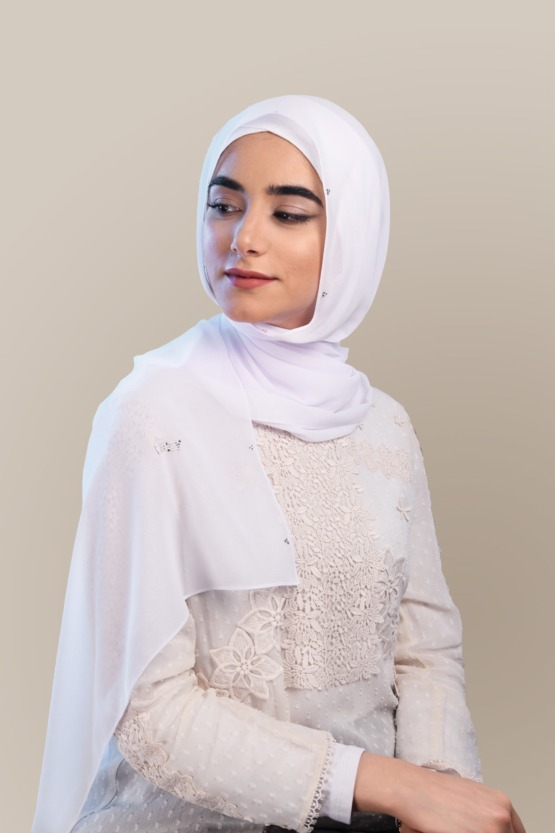 Luxury Chiffon Hijab in WHITE with Swarovski Crystals