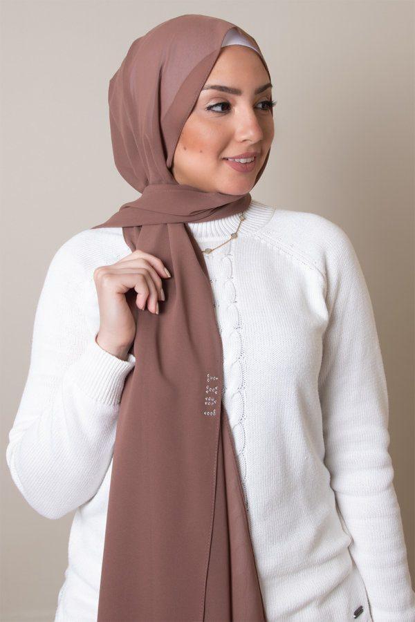 chiffon hijab in coffee