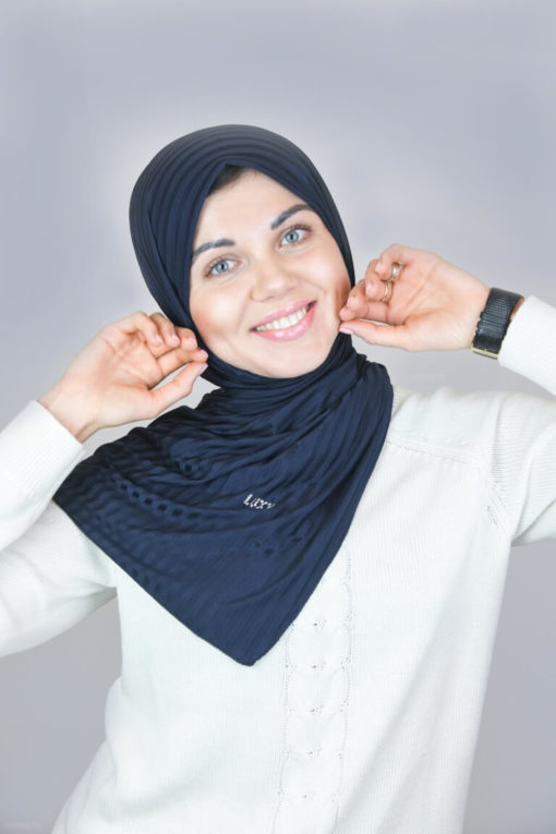 حجاب جيرسي مخطط باللون الأزرق الداكن