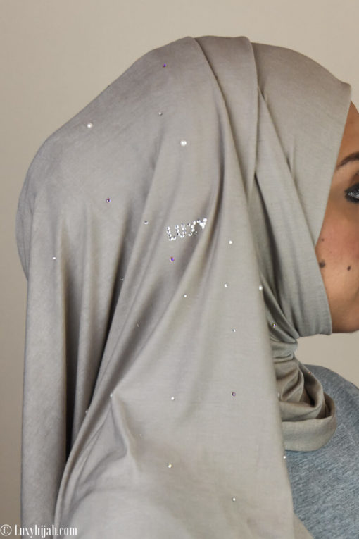 LUXURY Jersey Hijab in SANDSTONE with Swarovski Crystals and Pearls