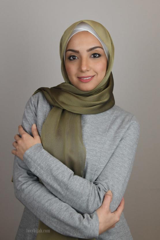 Silk Chiffon Hijab in OLIVE
