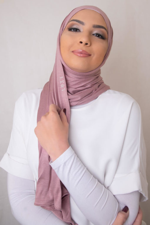 jersey hijab in french rose
