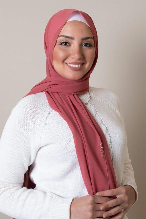 chiffon hijab dark pink 2