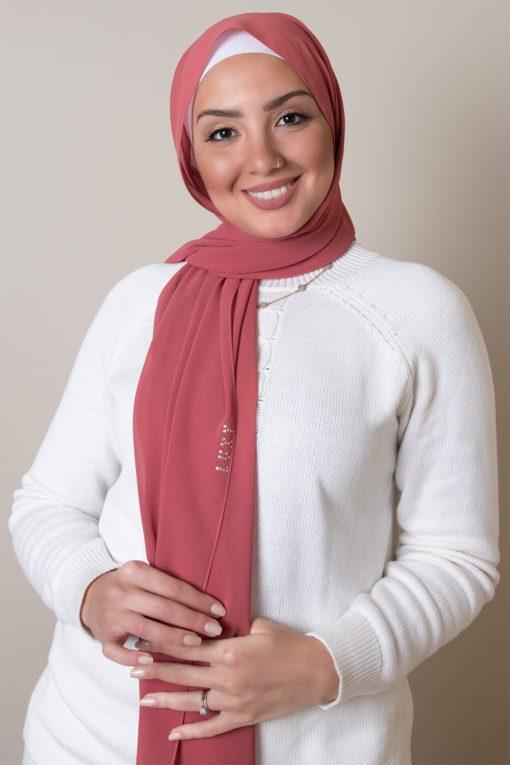 chiffon hijab dark pink