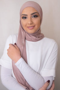 jersey hijab in apricot nude