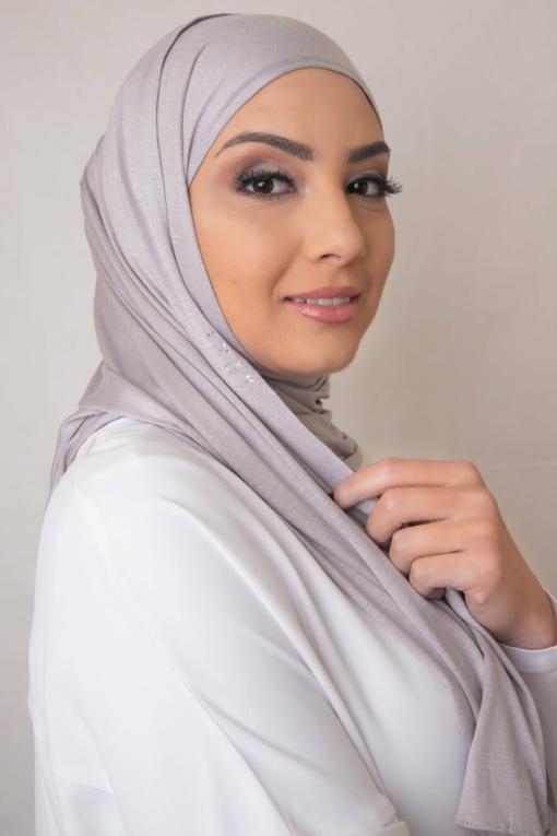 creamy gray scarf hijab 338