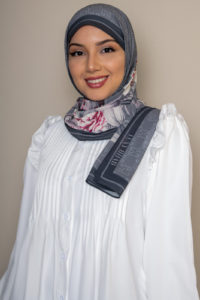 floral hijab in gray