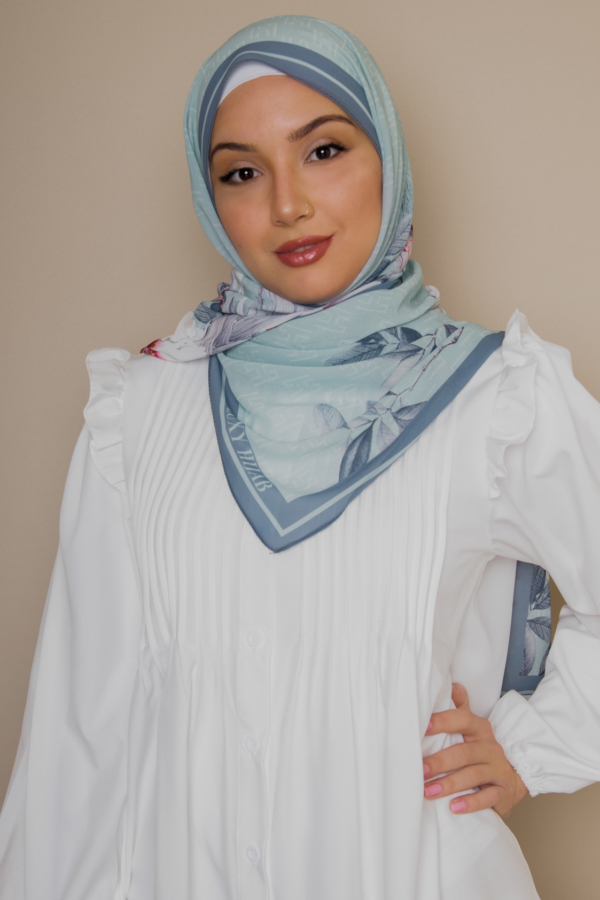 floral hijab in pistachio color
