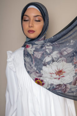floral scarf gray