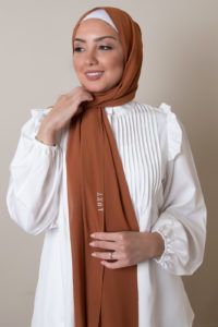 chiffon hijab in rust 1