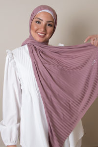striped jersey hijab in rose