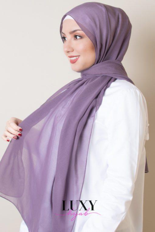 حجاب قطن فوال بلون المسك البنفسجي
