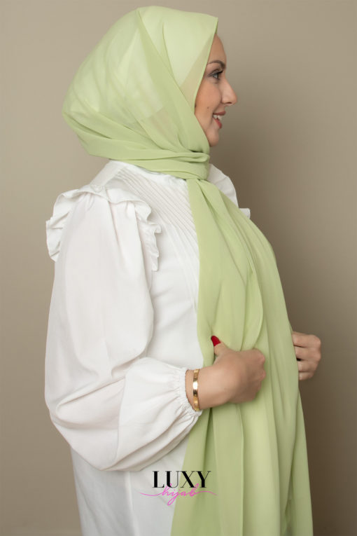 scarf chiffon in lime color